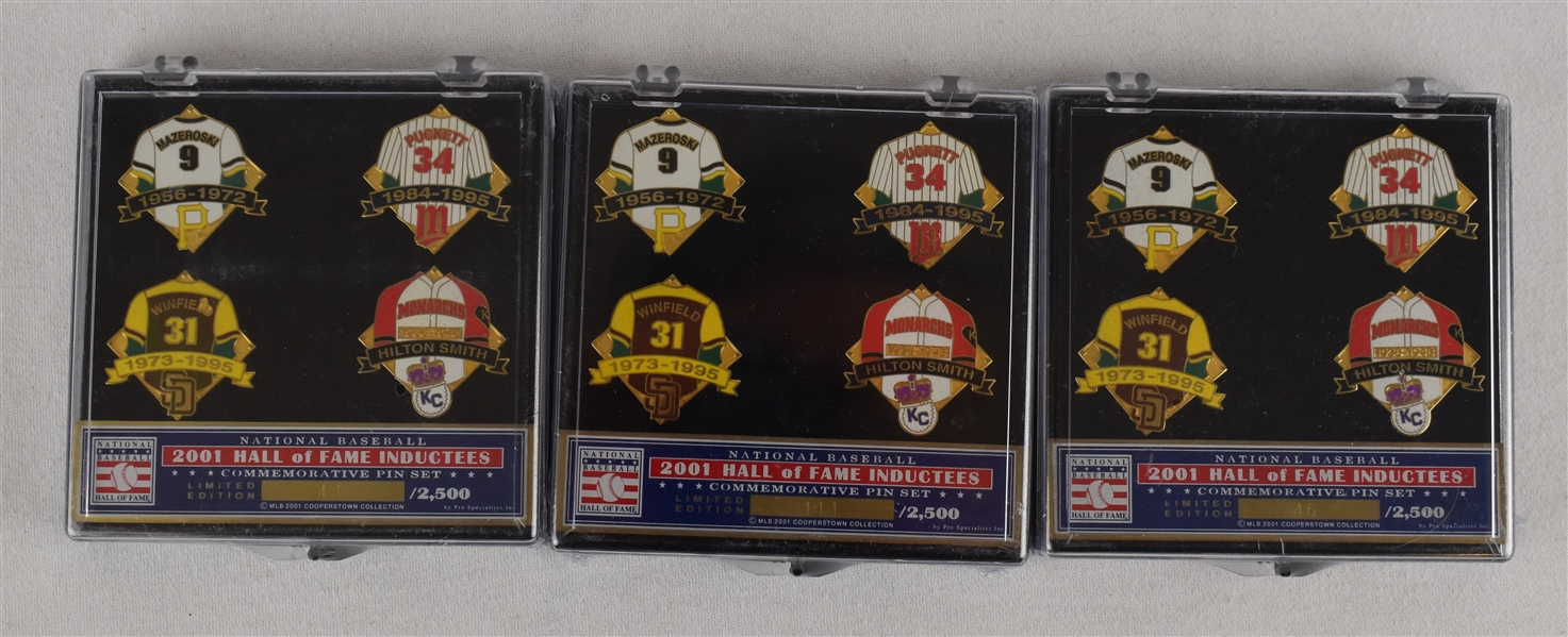 Lot of 3 HOF Class of 2001 Induction Pins w/Puckett Family Provenance