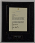 Kirby Pucketts 2001 George Bush Hall of Fame Letter w/Puckett Family Provenance