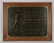 Kirby Puckett 1993 Branch Rickey Award w/Puckett Family Provenance
