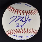 Mike Trout Autographed & Inscribed 2013 Stat Baseball MLB