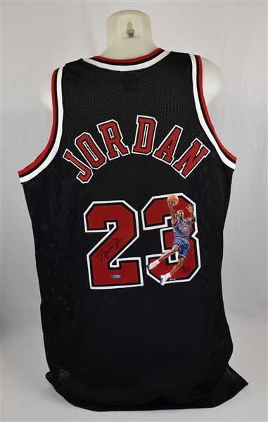 Michael Jordan Autographed Limited Edition Painted Alternate Black Jersey #11/23 UDA