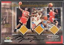 Michael Jordan Autographed Game Used Bulls Lakers & Jazz 3 Floor Limited Edition Card UDA