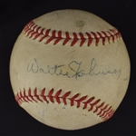 Walter Johnson Autographed Official League Baseball
