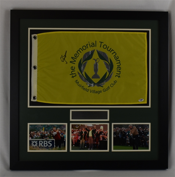 Jack Nicklaus Autographed Framed Memorial Golf Flag