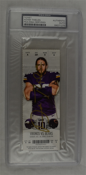 Adam Thielen Autographed 1st Receiving TD Game Ticket PSA/DNA