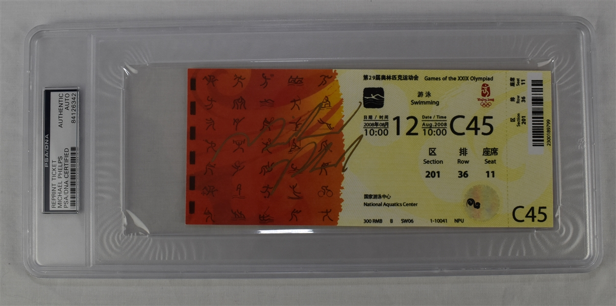 Michael Phelps Autographed Reprint Ticket PSA/DNA