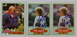 Phil Simms Lot of 3 Autographed Football Cards
