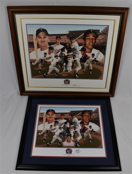 Karl Jaeger Lot of 2 Minnesota Twins Memories 40 Year Anniversary of 1965 Twins Limited Edition Lithographs