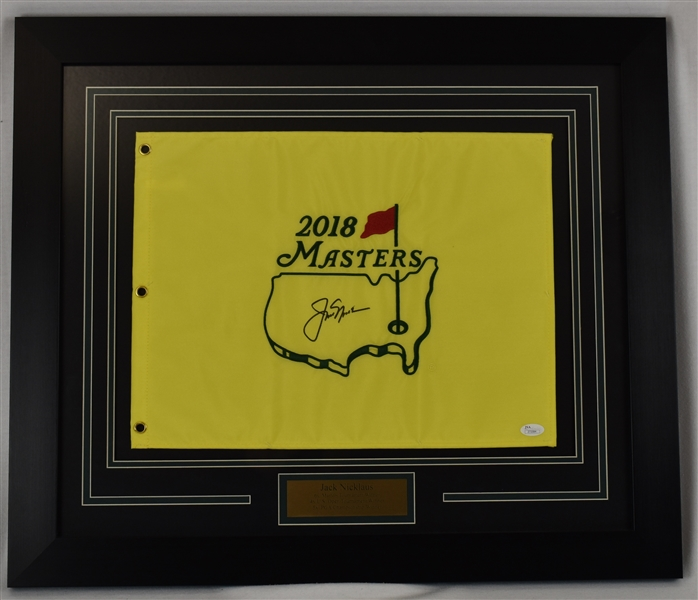 Jack Nicklaus Autographed Framed 2018 Masters Golf Flag