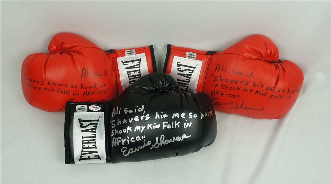 Earnie Shavers Lot of 3 Autographed & Inscribed Boxing Gloves