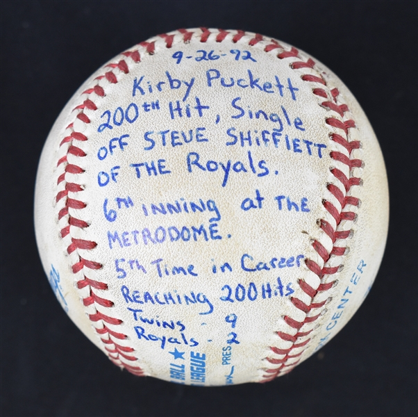 Kirby Pucketts 200th Hit Baseball From 1992 w/Puckett Family Provenance