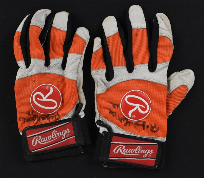 Roberto Alomar c. 1996-98 Baltimore Orioles Game Used Batting Gloves w/Puckett Family Provenance
