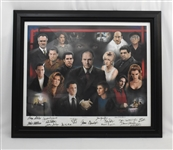 Sopranos Entire Cast Signed Lithograph on Canvas With 15 Signatures Including James Gandolfini Limited Edition #376/500