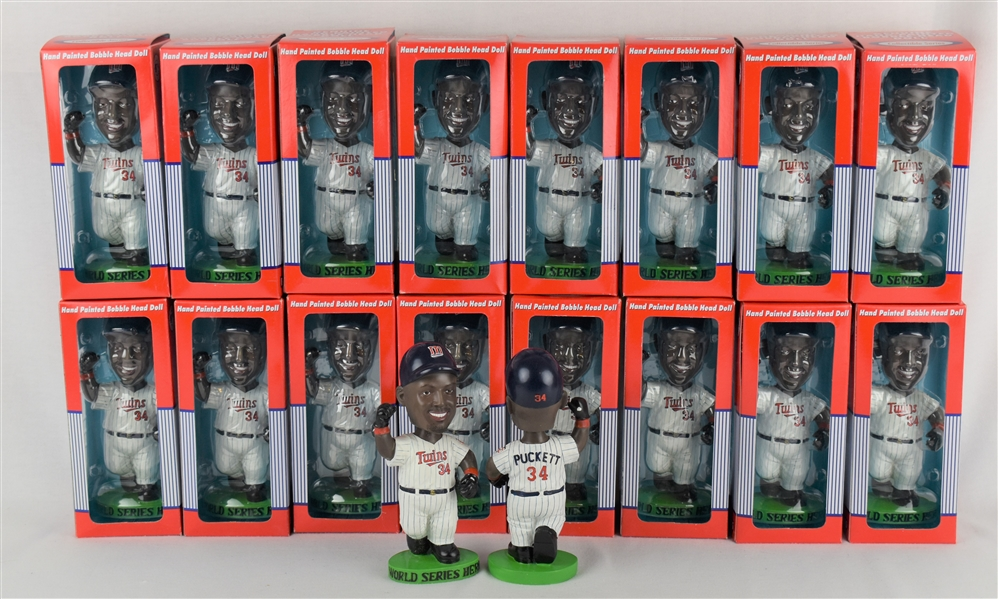 Collection of Kirby Puckett Case 1991 Limited Edition Hero Bobbleheads w/Puckett Family Provenance
