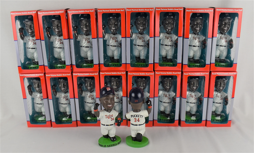 Collection of Kirby Puckett 1991 Limited Edition Hero Bobbleheads w/Puckett Family Provenance