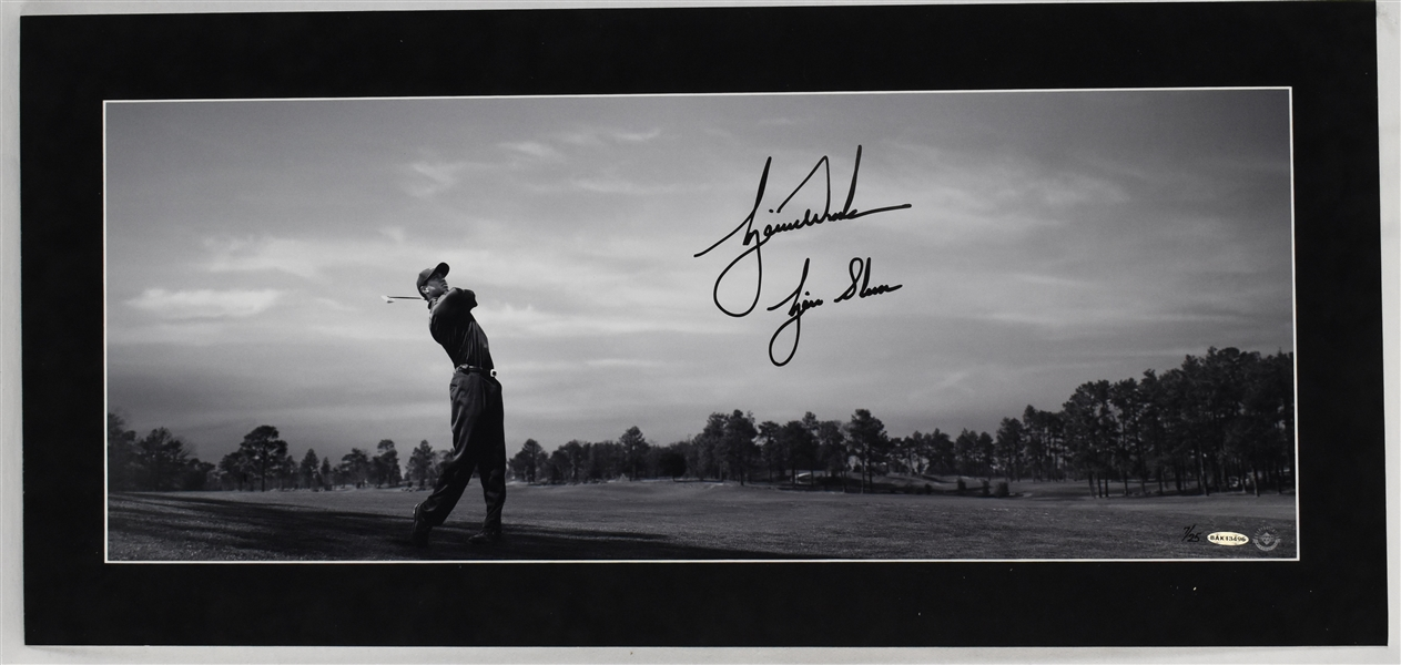 "Tiger Woods Autographed Limited Edition Panoramic Photo w/""Tiger Slam"" Inscription UDA"