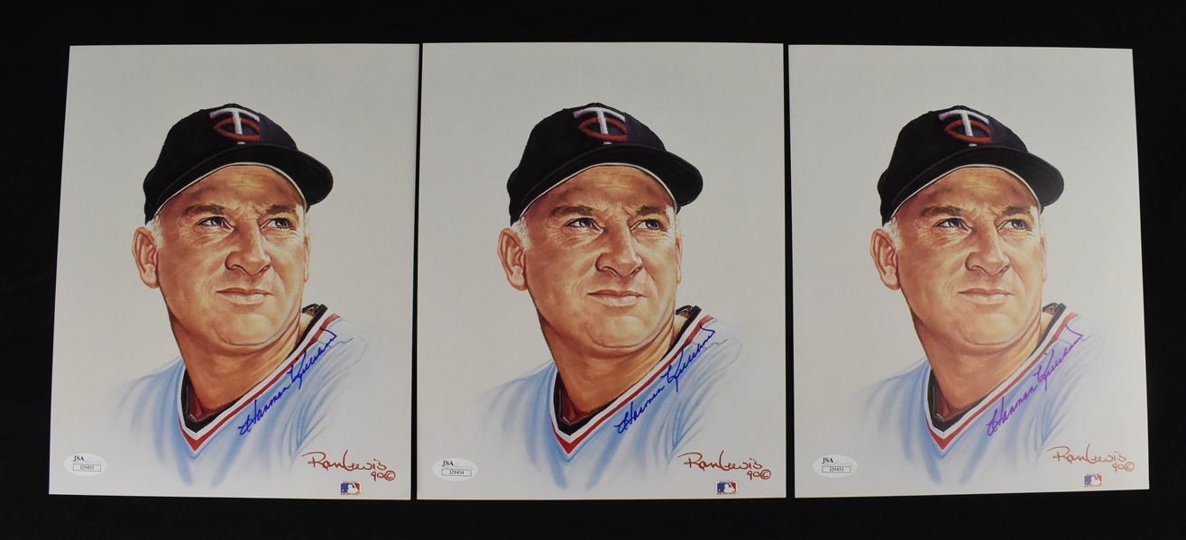 Harmon Killebrew Lot of 3 Autographed Ron Lewis Prints