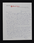 Sam Mele Boston Red Sox Signed Hand Written Letter to Sid Hartman