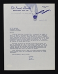 Ed Macauley St. Louis Hawks Signed Letter to Sid Hartman