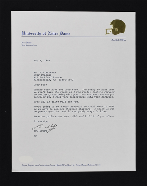 Lou Holtz Notre Dame Signed Letter to Sid Hartman