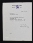 Maurice Podoloff Signed Letter to Sid Hartman