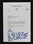 George Steinbrenner Signed New York Yankees Letter to Sid Hartman w/Great Bobby Knight Content
