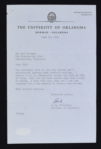 Bud Wilkinson Oklahoma Sooners Signed Letter to Sid Hartman