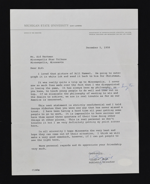 """Biggie"" Munn Michigan State Signed Letter to Sid Hartman"