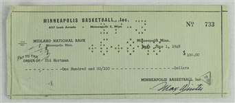 Max Winter & Sid Hartman Signed Minneapolis Lakers Check From 1948