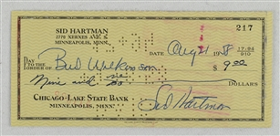 Sid Hartman Check to Bud Wilkinson 1958