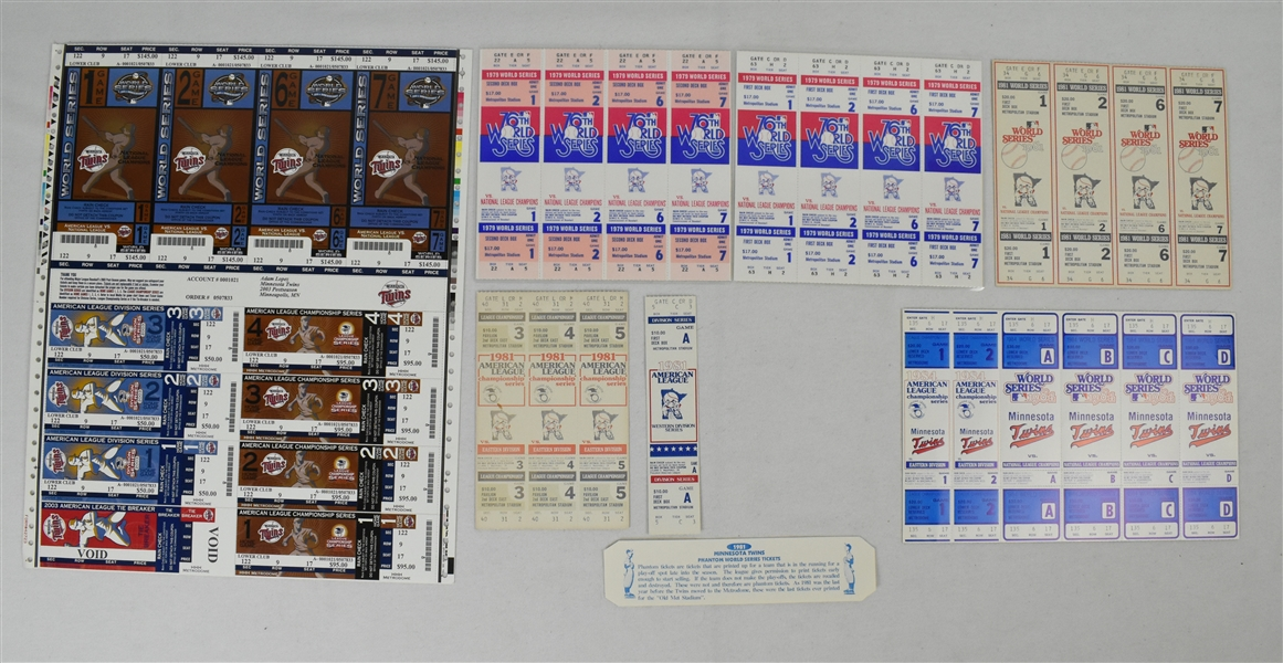 Minnesota Twins Collection of Phantom ALCS & World Series Tickets