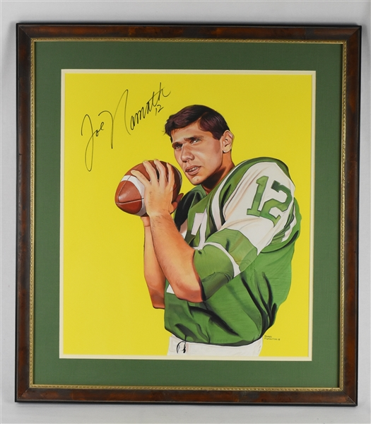 Joe Namath Original James Fiorentino 1965 Topps Rookie Card Watercolor Painting *Signed by Namath*