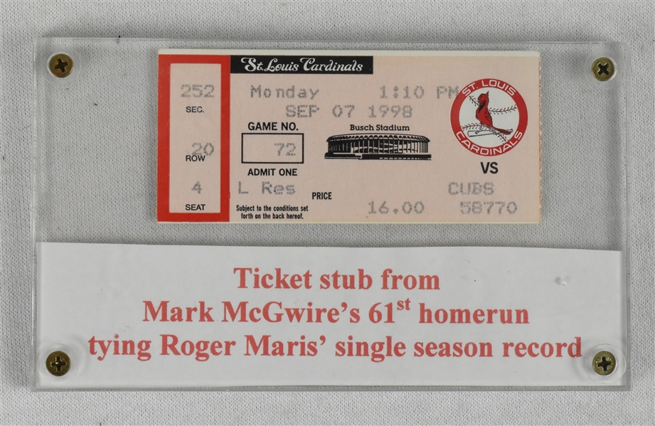Mark McGwire 1998 Ticket From 61st HR Game