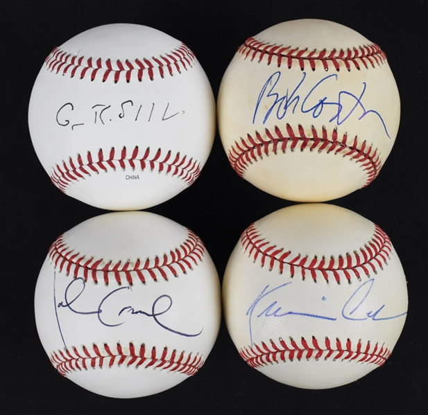 Collection of 4 Autographed Baseballs w/Kevin Costner