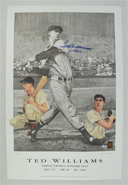Ted Williams Autographed 1942 Triple Crown Lithograph #116/521 PSA/DNA