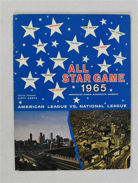 Vintage 1965 All-Star Game Program at Metropolitan Stadium