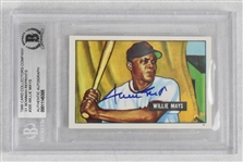 Willie Mays Autographed 1951 Bowman Rookie Reprint BAS
