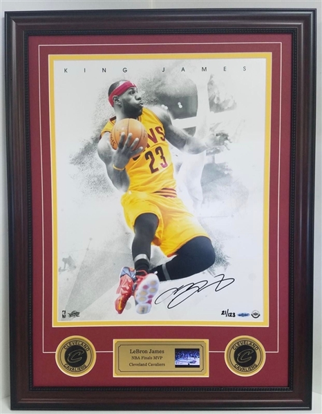 Lebron James Autographed & Custom Framed Cleveland Cavaliers Limited Edition #21/123 Photo Display w/Video Highlights