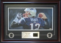 Tom Brady Autographed Original Oil Painting Display w/Video Highlights Tristar
