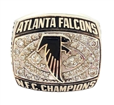 Ruffin Hamilton 1998 Atlanta Falcons NFC Championship 10K Gold Ring w/Real Diamonds