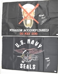 "Robert ONeill Autographed ""Mission Accomplished"" Osama Bin Laden & Navy Seals Flags PSA/DNA"
