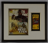 Carl Lewis Autographed Sports Illustrated w/Ticket Framed Display