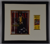 Michael Johnson Autographed TIME Magazine w/Ticket Framed Display