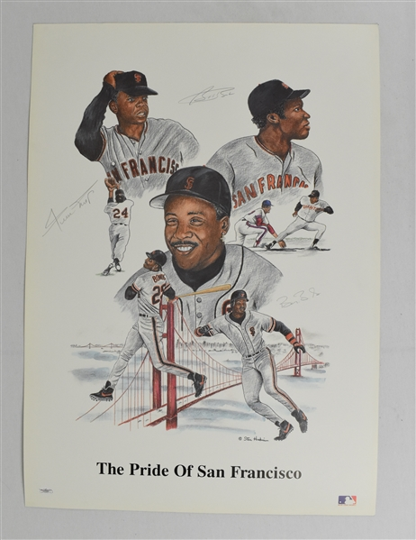 Barry Bonds Bobby Bonds & Willie Mays Autographed Limited Edition Litho