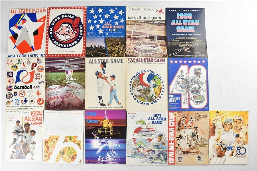 Collection of 1962-1979 All-Star Game Programs