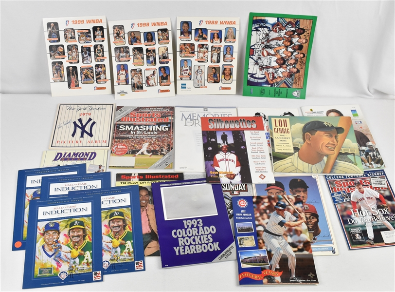 Collection of Baseball & Basketball Programs w/1999 Minnesota Lynx Team Signed Poster