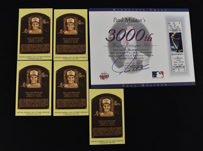 Paul Molitor 3,000th Hit Ticket & HOF Plaque Postcards