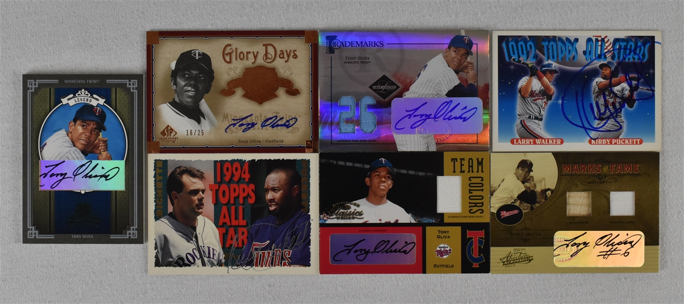 Kirby Puckett & Tony Oliva Lot of 7 Autographed Cards
