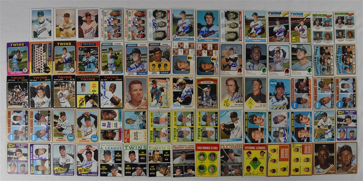 Minnesota Twins Collection of 158 Autographed 1960s & 1970s Cards