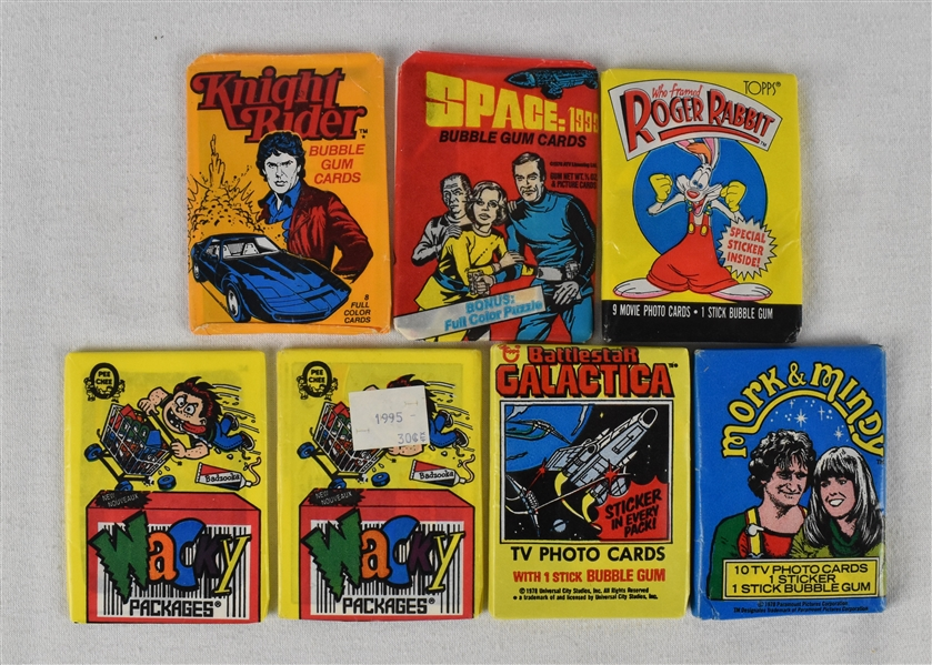 Lot of 7 Vintage Unopened Wax Packs w/Mork & Mindy